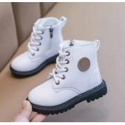 Красивые ботиночки на шнурках и замочке белые