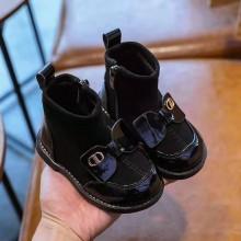 Ботинки на замке с бантом,черные