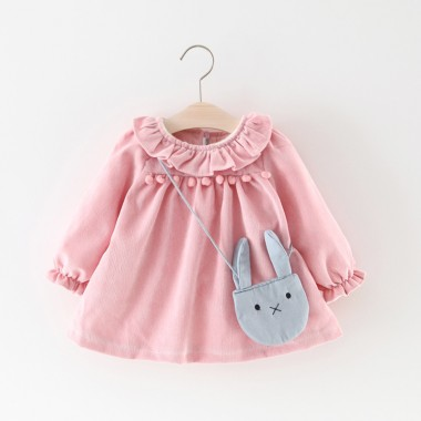 Платье бархатное с зайчиком