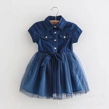 Джинсовое платье с фатиновой юбкой