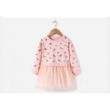 Платье с попугайчиками, розовое