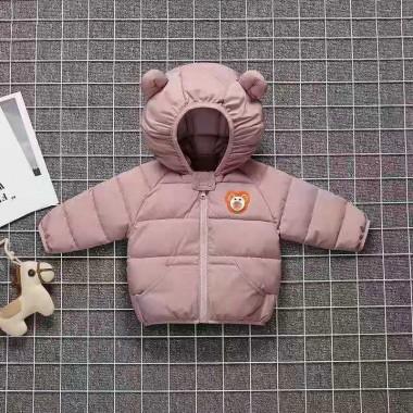 Куртка осенняя с капюшоном, розовая