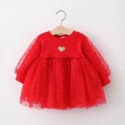 Платье  с сердечками,красное